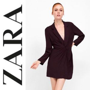 NWT Zara Burgundy Lapel Knot Dress